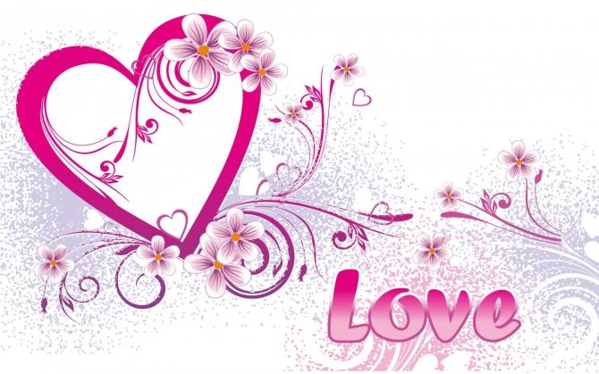 Love и сердечко с цветами