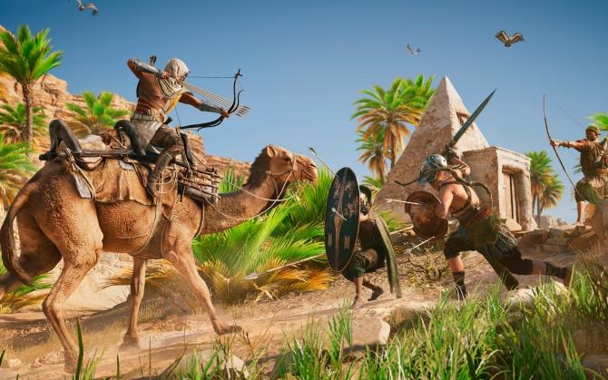Assassin's Creed Origins верхом на верблюде