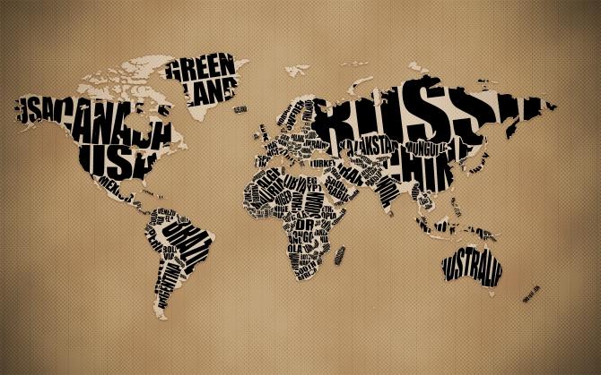 Карта с названиями стран