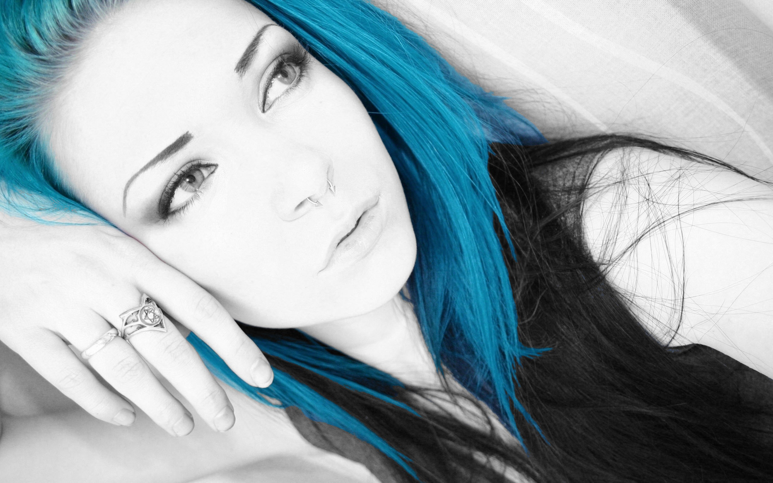 эмо девушки с синими волосами фото