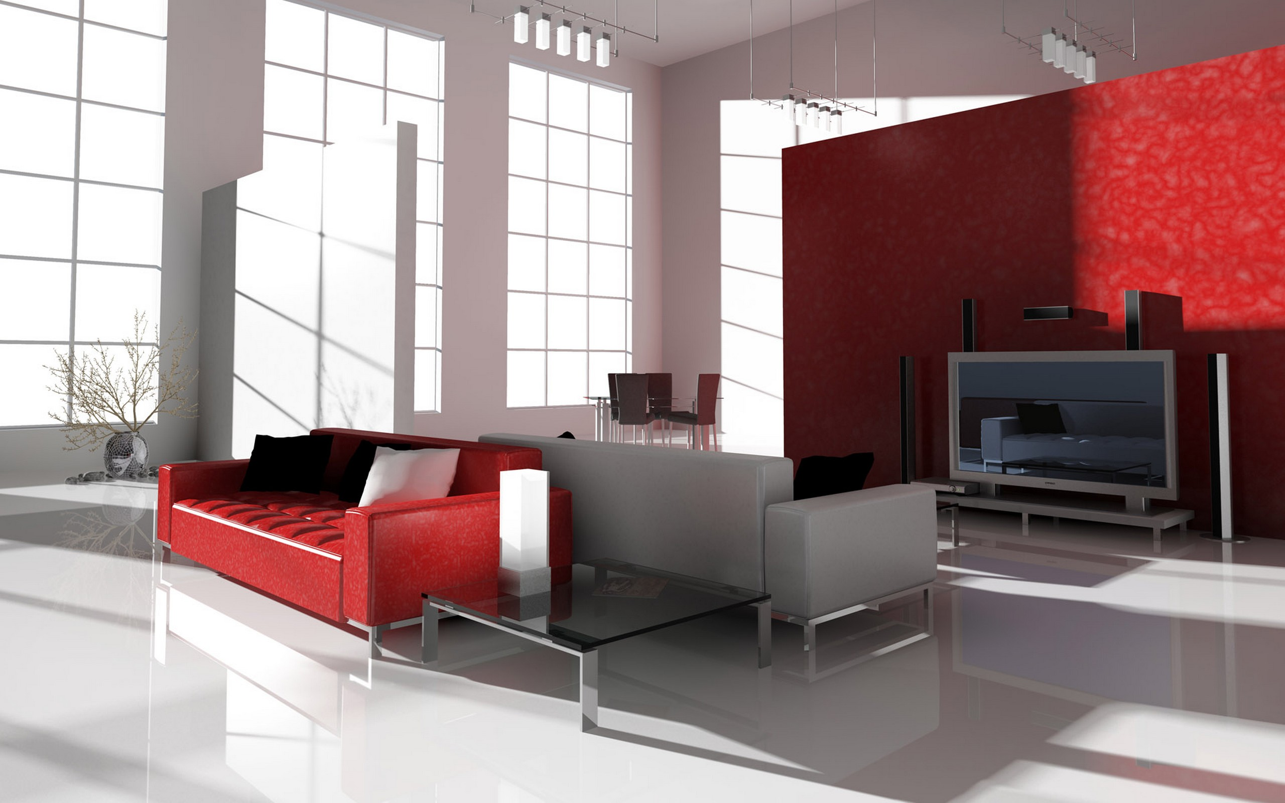 Гостинная в красно-белых тонах обои для рабочего стола, картинки и ...