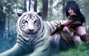 Эльфийка с белым тигром