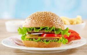 Гамбургер на тарелке