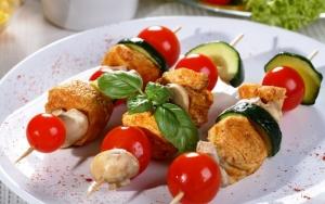 Шашлыки с грибами и овощами