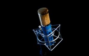 Синий микрофон с пауком