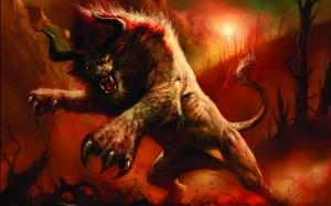 Фэнтези лев с рогами