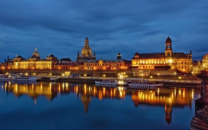 Вид на ночной Дрезден