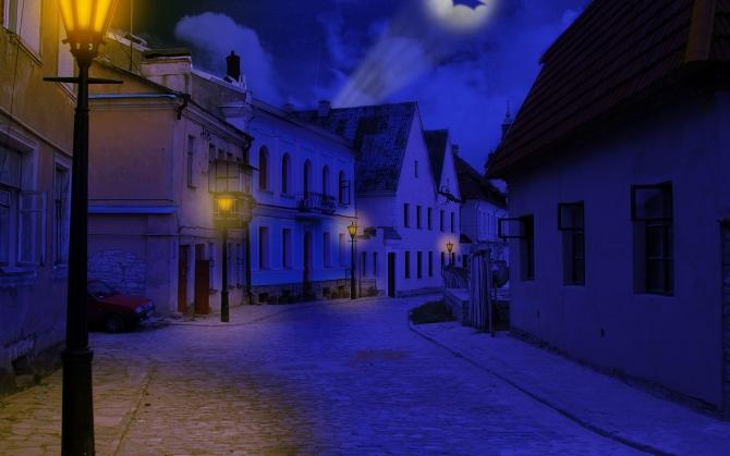 Фонари на темной улице