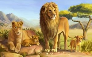 Нарисованные львы