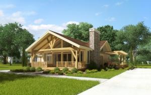 Дом из дерева 3d