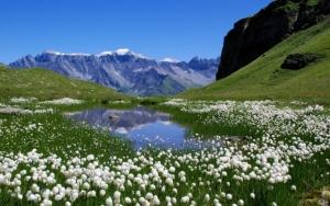Горы и озеро весной