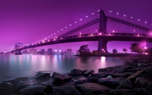 Мост в Нью-Йорке ночью