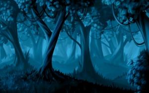 Нарисованный темный лес