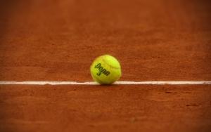 Теннисный мяч на грунте