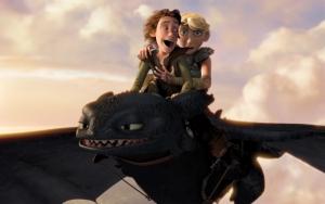 Иккинг и Астрид летят на Беззубике