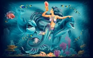 Русалка с дельфинами