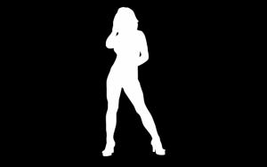 Черно-белый силуэт девушки