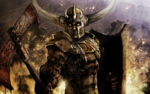 Воин в рогатом шлеме