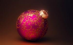 Розовый новогодний шарик