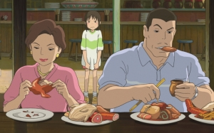 Тихиро с родителями
