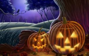 Тыквы в лесу на Хэллоуин