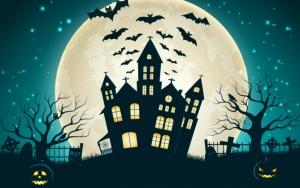 Замок и летучие мыши в Хэллоуин