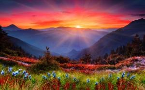 Закат в живописных горах